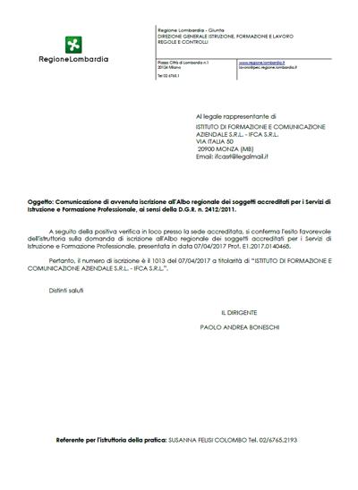 Accreditamento Regione Lombardia Nr. 1013